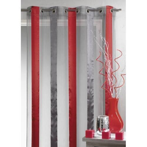 voilage bicolore rayures verticales piment 14 achat vente rideau voilage organza. Black Bedroom Furniture Sets. Home Design Ideas
