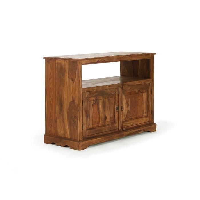 Meuble tv merlin 110x45 avec portes en bois massivum - Meuble tv avec porte ...
