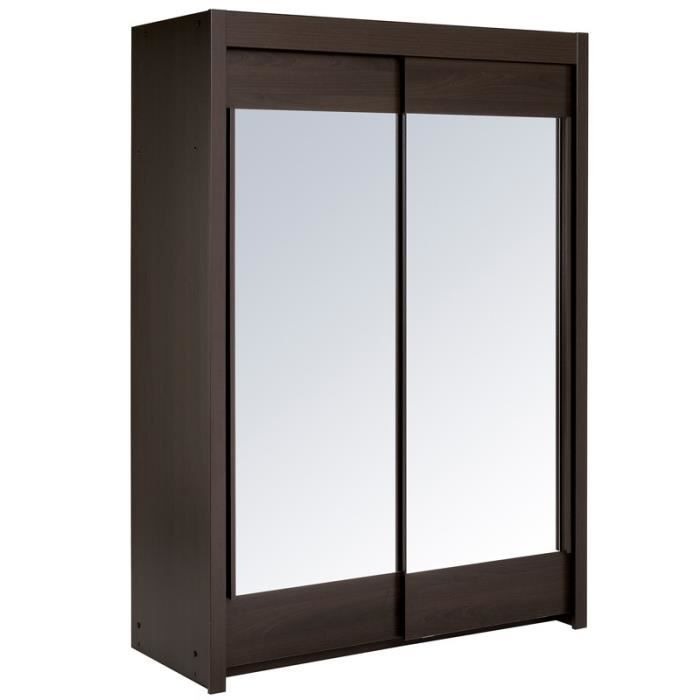 Armoire 2 portes coulissantes 160 cm weng nity achat for Armoire porte coulissante largeur 160 cm