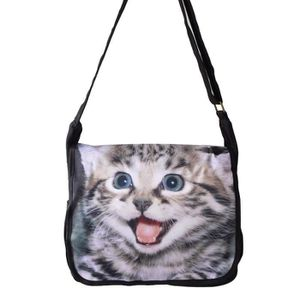 BESACE - SAC REPORTER BESACE EN TISSUS CHATON CHAT MIGNON SAC REPORTER