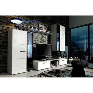 Meuble tv laque noir et blanc achat vente meuble tv for Meuble de salon complet