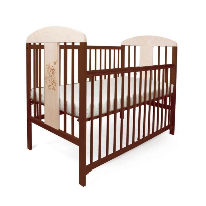 lit pour b b barreaux tomi 18 lapin barri re coulissante avec matelas et drap brun. Black Bedroom Furniture Sets. Home Design Ideas