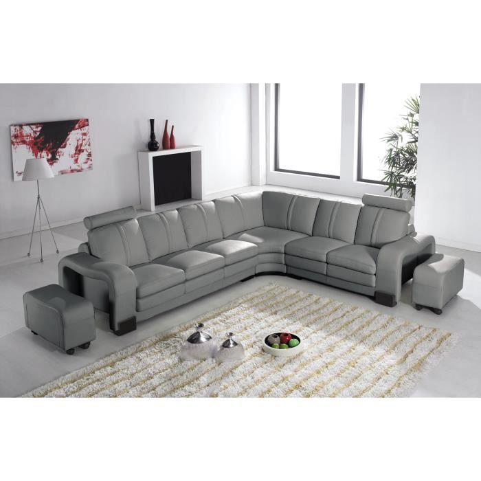 Canap d 39 angle en cuir gris avec appuie t te relax havane angle droite - Canape d angle avec appui tete ...