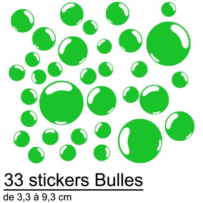 33 Stickers Autocollant Bulles D Co Salle De Bain Vert