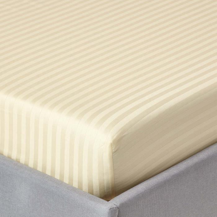 Drap housse ray 90 x 190 cm 100 coton gyptien 330 fils for Drap housse coton egyptien