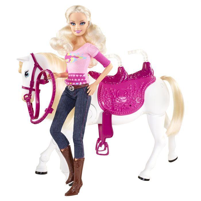 POUPÉE Barbie Et Son Cheval Trotteur