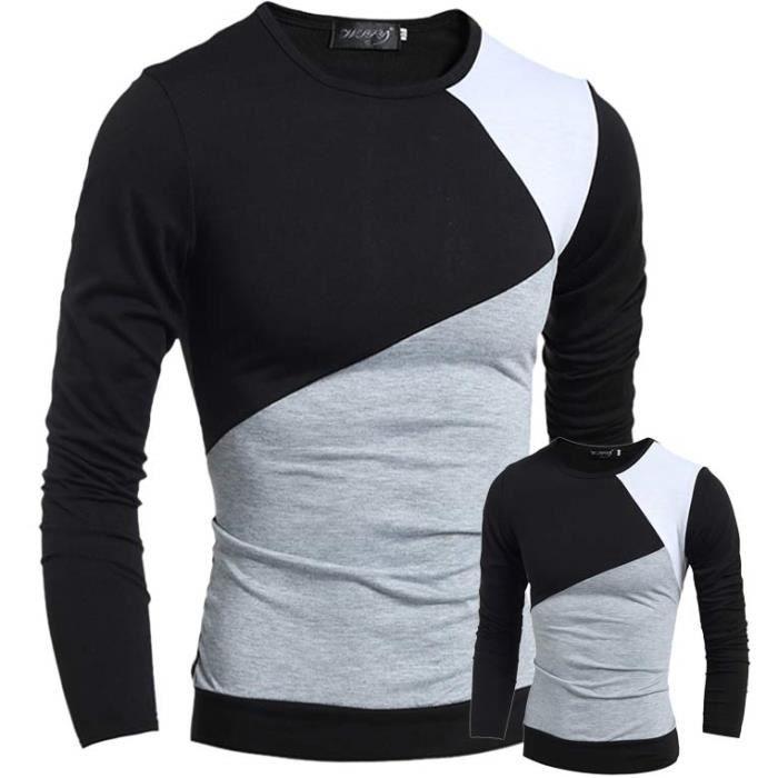 tee shirt homme manche longue marque lanc noir noir. Black Bedroom Furniture Sets. Home Design Ideas