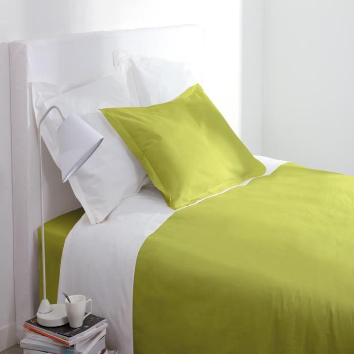 paris prix drap housse 140x190cm vert anis achat vente drap housse cdiscount. Black Bedroom Furniture Sets. Home Design Ideas