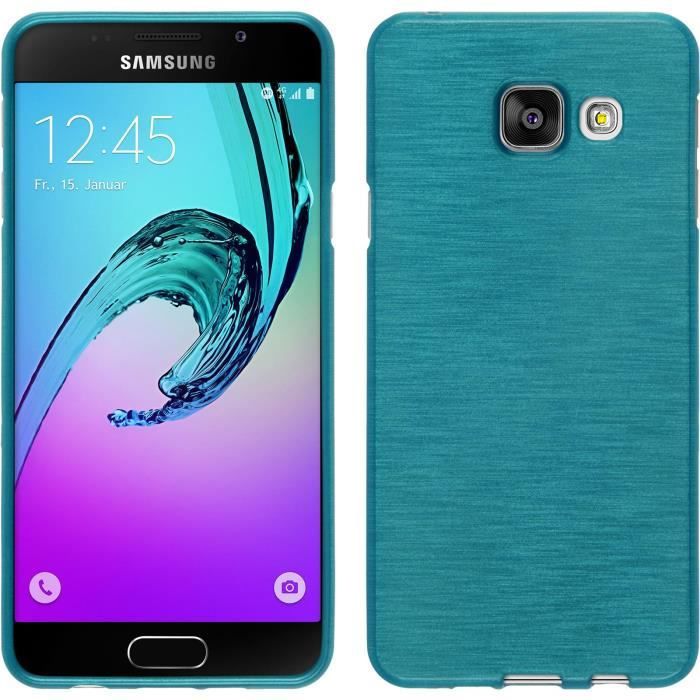 coque en silicone pour samsung galaxy a3 2016 brushed bleu cover phonenatic cubierta. Black Bedroom Furniture Sets. Home Design Ideas