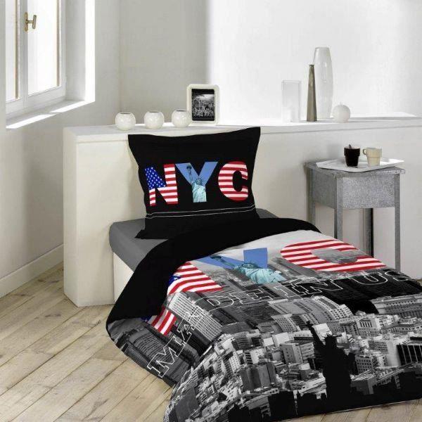 Housse de couette 140x200 cm black new york 69 1 taie d - Housse de couette new york 140x200 ...