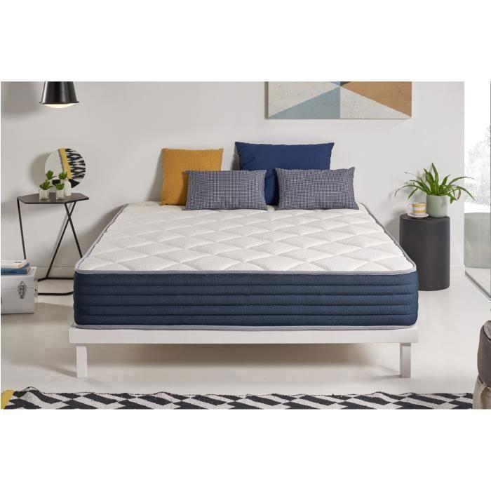 matelas aura 150x200 cm 7 zones mousse m moire face t hivers blue latex sans ressorts 25 cm. Black Bedroom Furniture Sets. Home Design Ideas