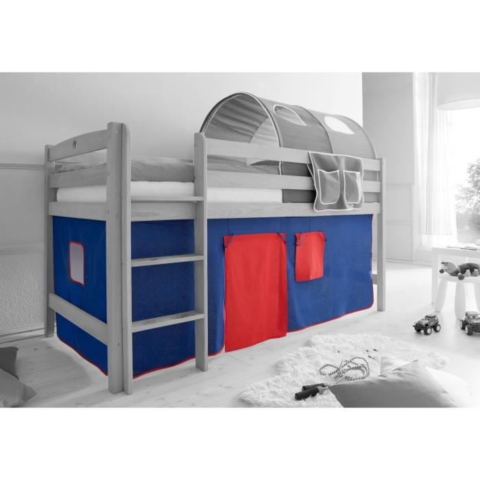 Ensemble de 2 rideaux tissus pour lit mezzanine achat vente rideau c - Rideau pour lit superpose ...