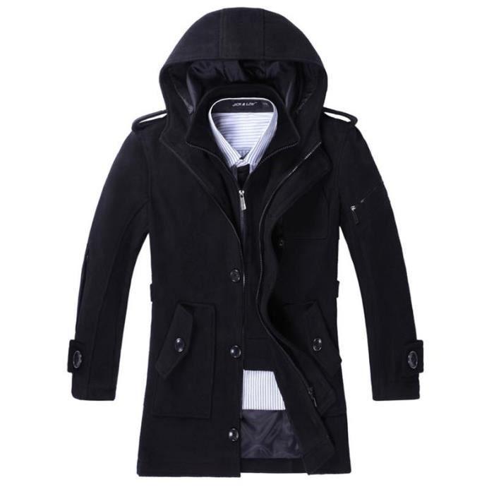 manteau laine capuche homme gris hiver marque luxe faux. Black Bedroom Furniture Sets. Home Design Ideas