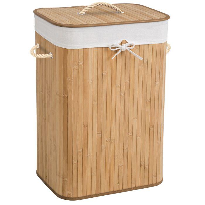 panier linge corbeille linge bac sac linge sale 72 litres rectangulaire en bambou 42. Black Bedroom Furniture Sets. Home Design Ideas