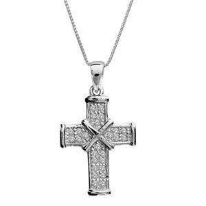 SAUTOIR ET COLLIER Collier argent rhodié petite croix pierres blanche