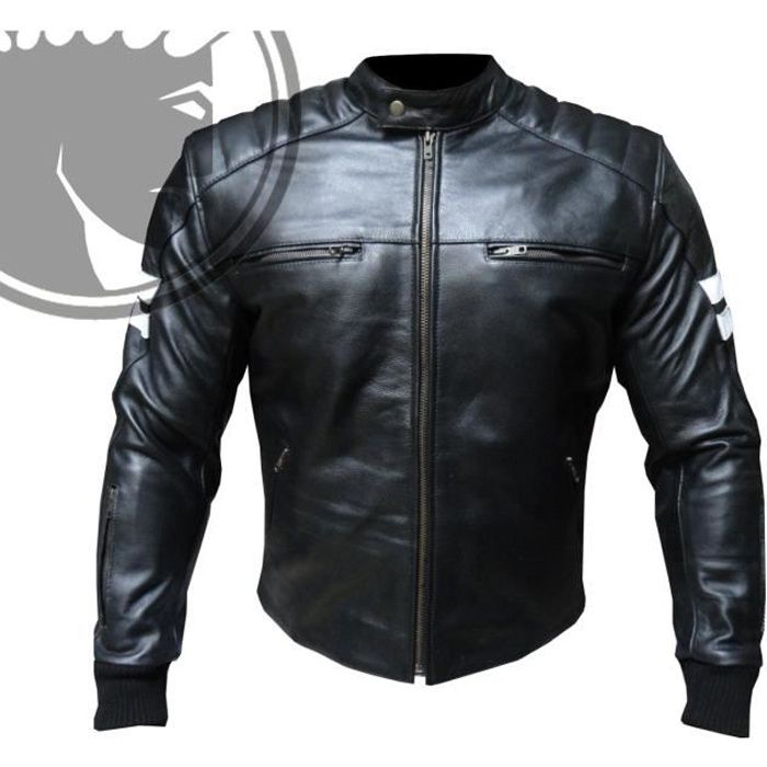 blouson moto homme cuir biker retro noir xl achat. Black Bedroom Furniture Sets. Home Design Ideas