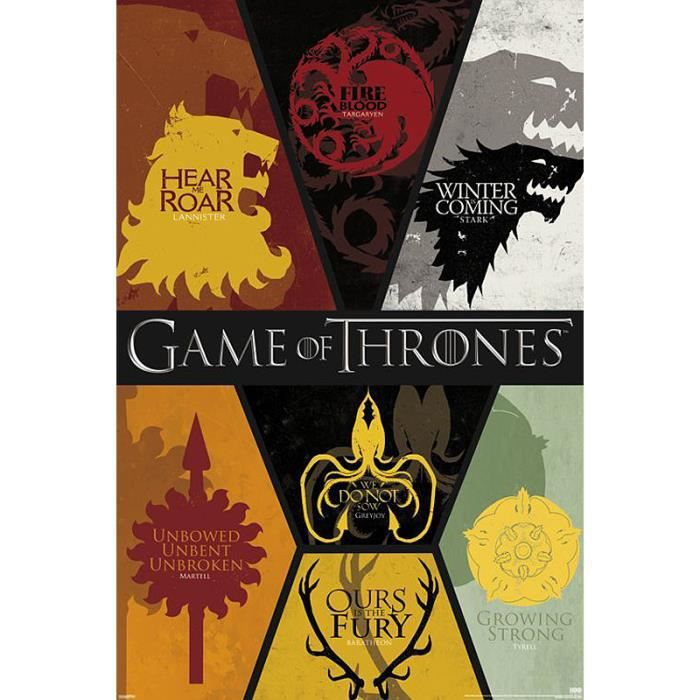 Poster game of thrones blasons achat vente affiche for Decoration murale game of thrones