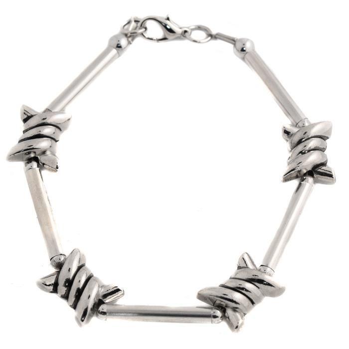 bracelet viking acier fil barbeles rock punk trash metal gris achat vente bracelet. Black Bedroom Furniture Sets. Home Design Ideas