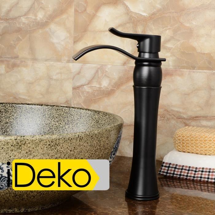 ideko robinet mitigeur lavabo cascade salle de bain en laiton peintre noir haut flexible. Black Bedroom Furniture Sets. Home Design Ideas