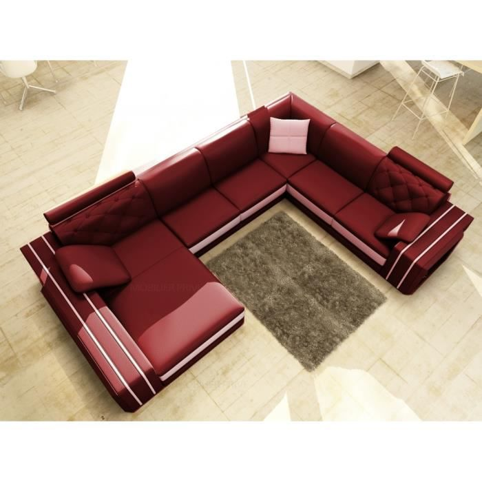 Canap d 39 angle en cuir italien 8 places bentley et achat vente canap sofa divan Canape d angle italien