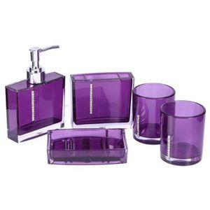 Accessoires salle de bains violet achat vente - Set de salle de bain pas cher ...