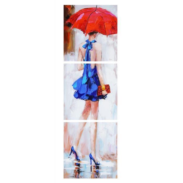 Aonbat peinture l 39 huile peint la main femme de dos marchant sous la pluie robe bleue et for Peindre une baignoire en acrylique
