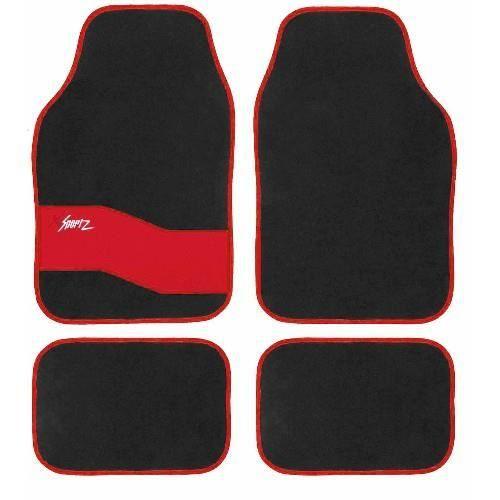 Tapis sol pour voiture design rouge et noir sport achat vente tapis de so - Tapis rouge et noir design ...