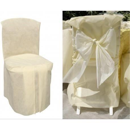 5 housses de chaise intiss ecru achat vente housse de for Housse de chaise lin