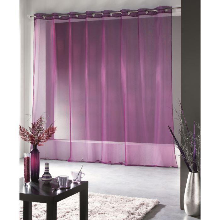 rideau voile oeillets grande largeur 400x240 cm achat vente voilage 100. Black Bedroom Furniture Sets. Home Design Ideas