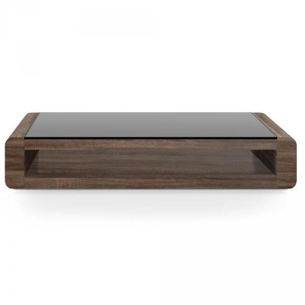 Table basse mirko version bois et verre noir co achat for Table basse noir et bois