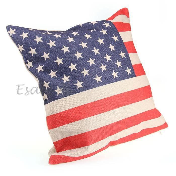 Taie d 39 oreiller housse coussin 45x45cm motif drapeau us for Taie d oreiller pour canape