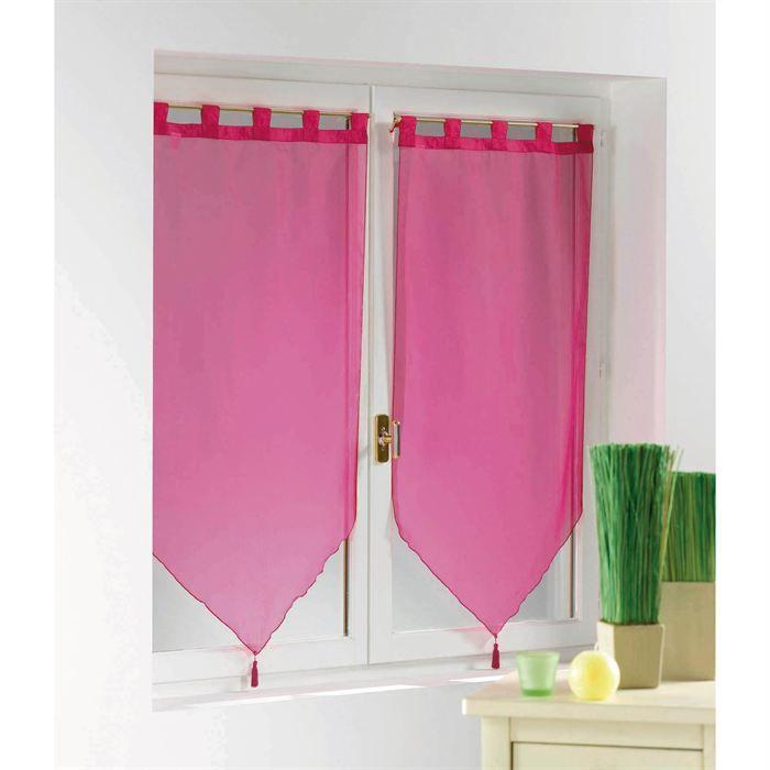 2 voiles passants pompons en 160x60cm uni magenta achat vente rideau voilage 2 voiles en. Black Bedroom Furniture Sets. Home Design Ideas