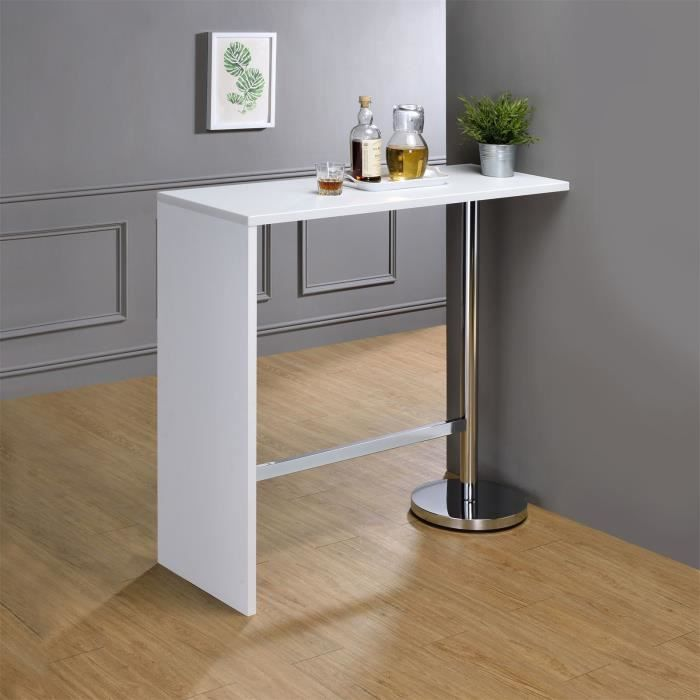 table haute de bar ricardo mdf d cor blanc achat vente meuble bar table haute de bar ricardo. Black Bedroom Furniture Sets. Home Design Ideas