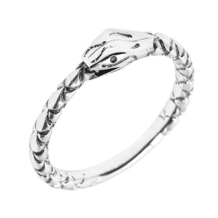 bague femme argent fin 925 1000 serpent pouce 5 mm t te blanc achat vente bague anneau. Black Bedroom Furniture Sets. Home Design Ideas