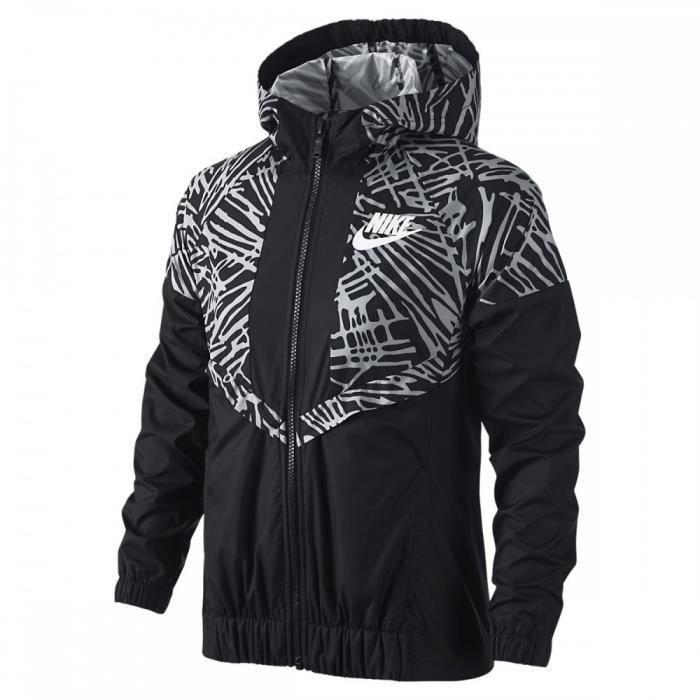 veste nike junior tech fleece windrunner 728322 010 noir noir achat vente veste de sport. Black Bedroom Furniture Sets. Home Design Ideas