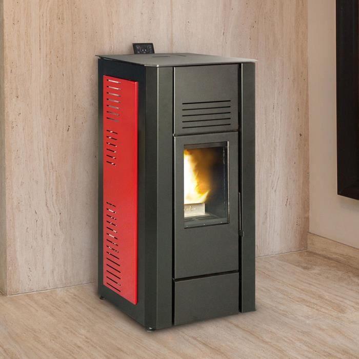 po le pellets hydro design noir et rouge gloria 16 kw achat vente po le insert foyer. Black Bedroom Furniture Sets. Home Design Ideas