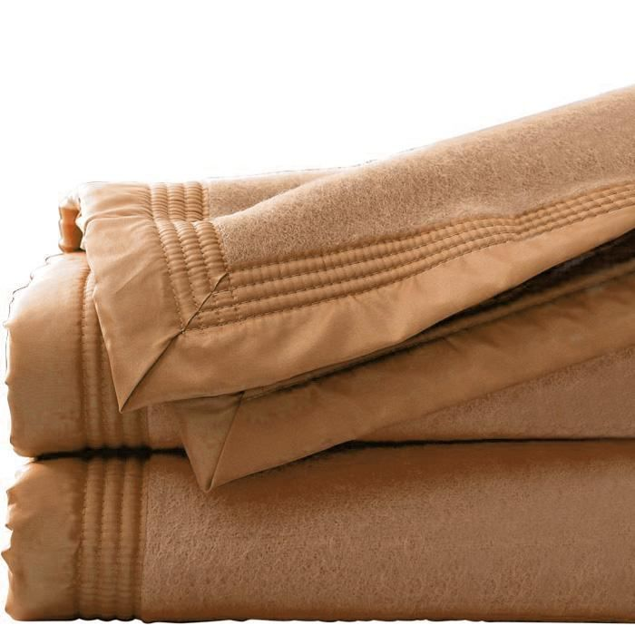 couverture 180x220 cm pure laine vierge caramel achat vente couverture plaid cdiscount. Black Bedroom Furniture Sets. Home Design Ideas