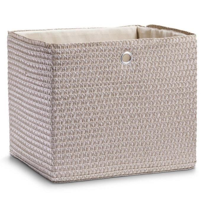 panier de rangement carre tress beige zeller achat vente boite de rangement cdiscount. Black Bedroom Furniture Sets. Home Design Ideas