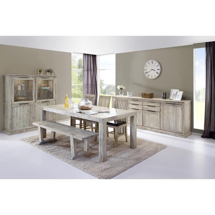 Salle manger compl te en bois massif coloris gris clair for Salle a manger complete