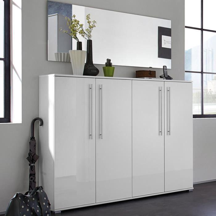 meuble chaussures blanc avec 4 portes 32 pai achat vente meuble chaussures meuble. Black Bedroom Furniture Sets. Home Design Ideas