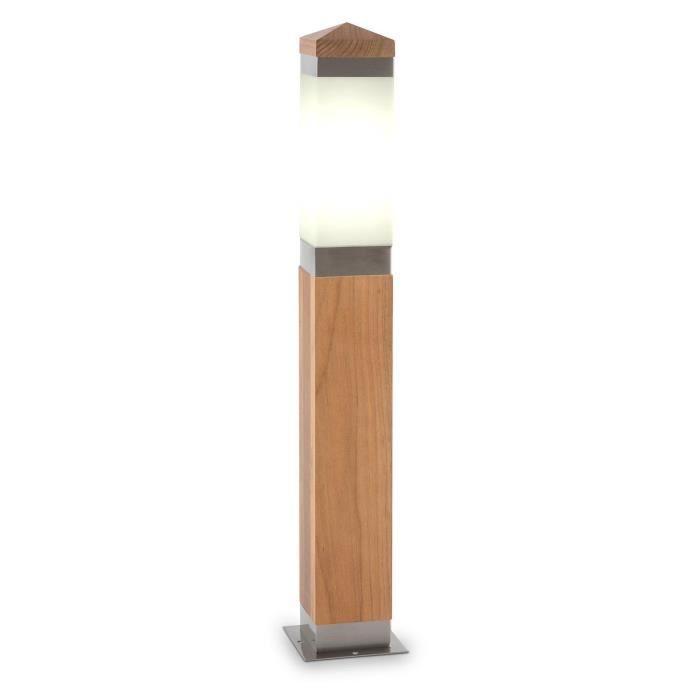 Blumfeldt borneo luminaire d 39 ext rieur 65 cm teck inox e27 for Luminaire exterieur carre