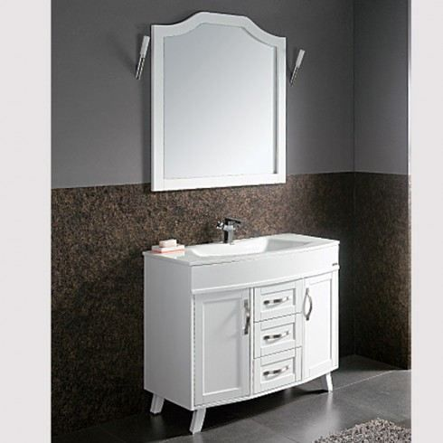 meuble de salle de bain ivoire avec son miroir achat vente salle de bain complete meuble de. Black Bedroom Furniture Sets. Home Design Ideas