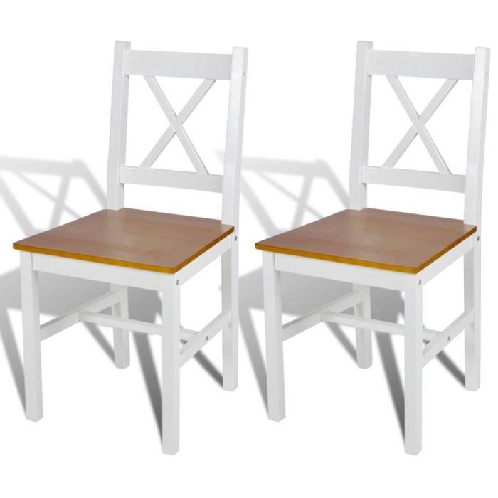 2pcs chaise salle manger et cuisine en bois blanc et - Chaise bois blanc salle manger ...