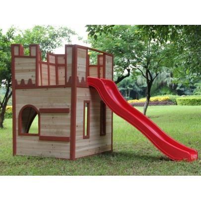 Ch teau fort en bois cavalero toboggan l243 x l103 x h156cm achat ven - Chateau fort en bois ...