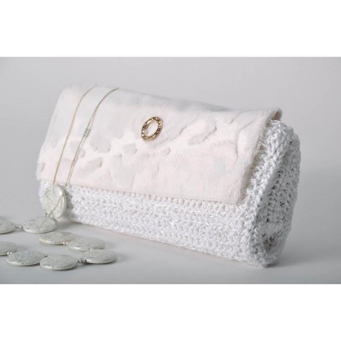 Sac A Main Blanc Pochette : Sac clutch blanc fait main pochette de soir?e mariage