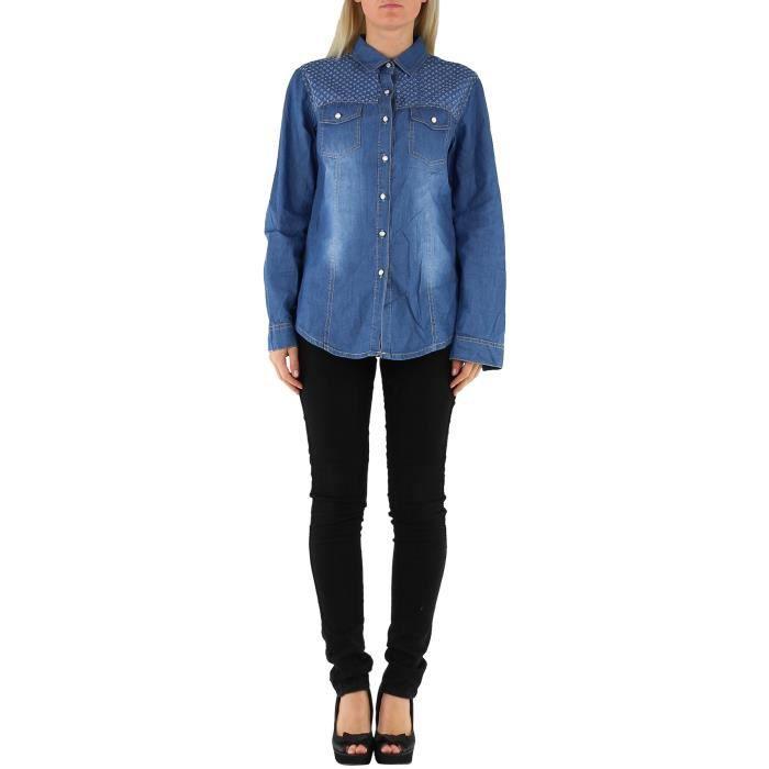 chemise en jean femme bleu taille xl 42 coton achat vente chemise chemisette chemise en. Black Bedroom Furniture Sets. Home Design Ideas