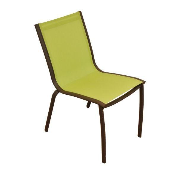Lot de 4 chaises linea rouille lime achat vente for Lot chaise de jardin