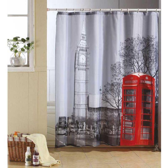 rideau de douche d cor londres pour faire vivre achat vente rideau de douche tissu 100. Black Bedroom Furniture Sets. Home Design Ideas