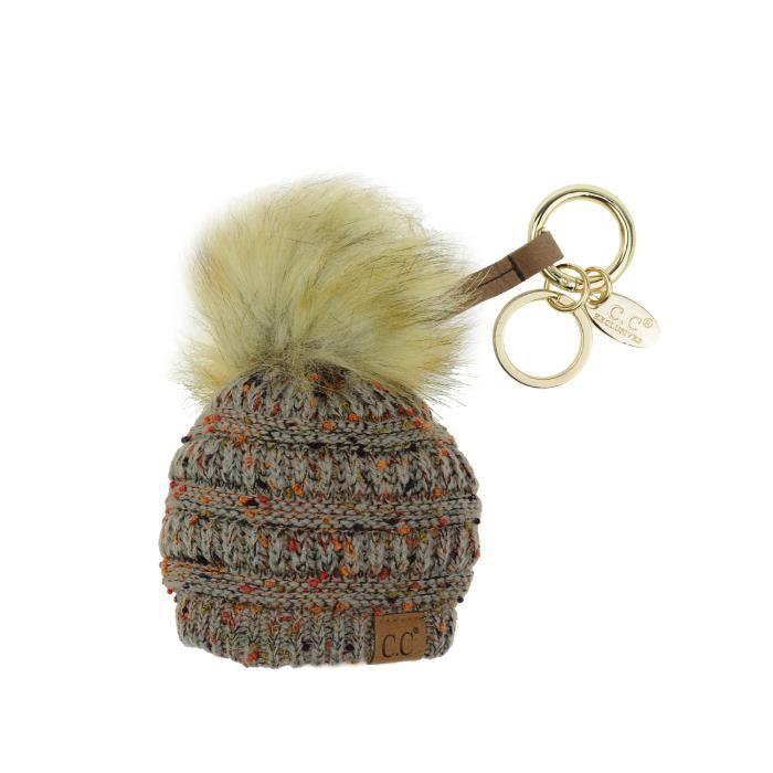 Porte,clé ou accessoire de bourse Petit Bonnet d\u0027hiver à pompon. Produit  offert par NYFASHION101® Confetti Gris naturel