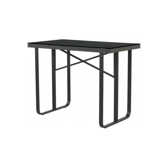 table haute rectangulaire aluminium gris plateau verre tremp noir l130 achat vente table de. Black Bedroom Furniture Sets. Home Design Ideas